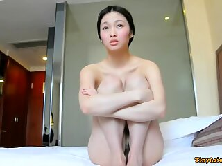 Super cute and shy Chinese college girl fucked in hotel on camera