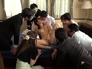 JAV Miki Sunohara suck off and rimjob while audience witnesses