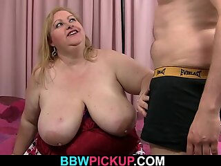 Mega-boobs fatty gets pussy licked before doggy-fuck
