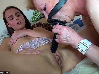 Horny old granny with cute girl masturbation