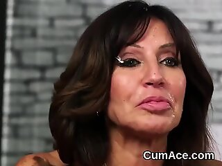 Unusual bombshell gets sperm load on her face swallowing all the spunk