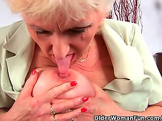 grandma In stocking Massages Her Big Tits And Finger Fucks Her Old vulva