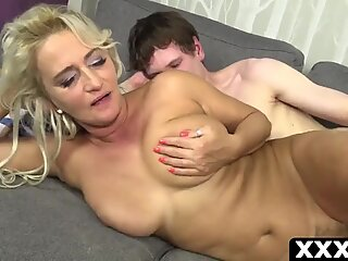 Naughty european MILF with big tits in law screwing amateur young boy