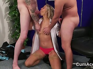 Sexy idol gets cum load on her face sucking all the spunk