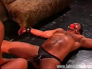Mistress Nicole Sheridan punishes male slave for going to another Mistress