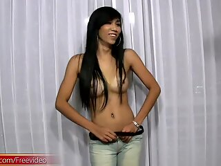 Black hair ladyboy beauty enjoys dancing and hot striptease