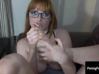Sweet Red Penny Pax Gives Dirty Jerk Off Instructions Showing Her Feet!