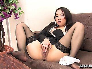 Japanese girl in nylon stockings masturbates