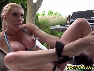 Tittyfucking stunner anally screwed outdoors
