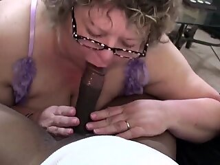 Chubby Grandma Knows How To Suck Black Cock