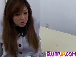 Aya Sakaki in seductive POV smashing her furry cunt - More at Slurpjp.com