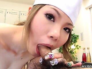 Japanese darling, Moe Yazawa sucks dick, uncensored