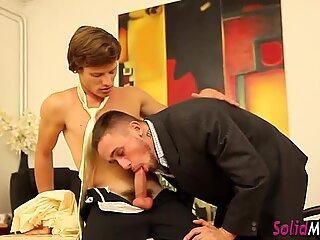 Real gay boss cum sprays