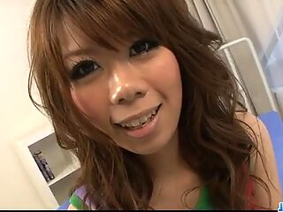 Sakura's hairy pussy attracts men and they flock like bees to honey.