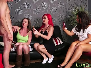 Cfnm milfs tug cock and snap pics of cumshot