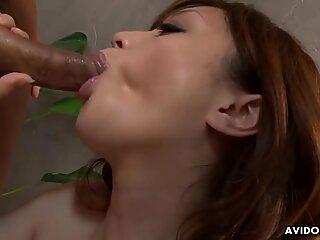Japanese brunette, Rui Yazawa sucks dick, uncensored