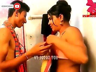 Indian wife in open bath