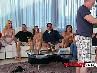 Hot swinger wifes are playing together with their naked bodies.