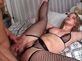 Hot and wet Sunny Lane shows off her pussy while getting fucked hard