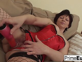 Brunette granny gets a good fucking from a younger man!