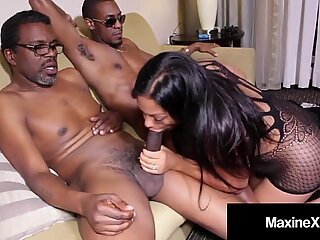 Big Titty Cambodian Cougar Maxine X Gets Double Dark Dicked!