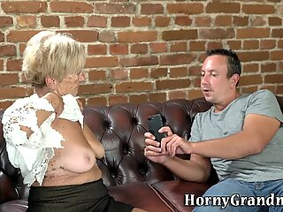 Ancient woman cum sprayed