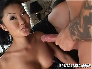 Asian brunette whore sucks and gets ass fucked rea