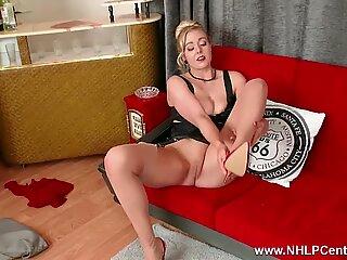 Leggy blonde Sapphire Blue big natural tits fingers fucks in nylons garters