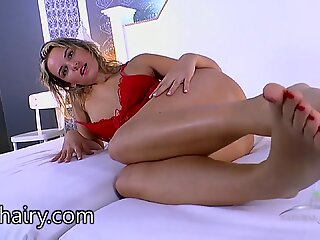 Regina looks great in red lingerie