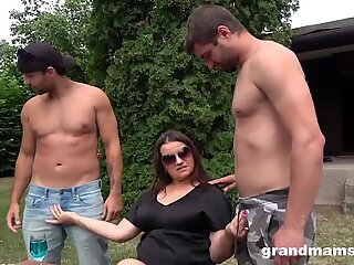 Lustul Grandmother Double Meated During BBQ