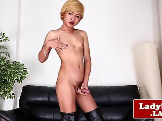 Glam ladyboy shows off her tight asshole