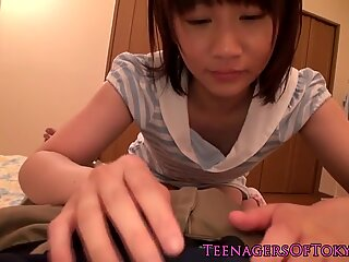 Innocent japanese teen suck dick and swallows