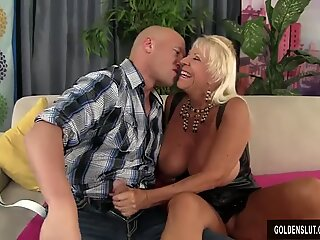 Floppy Titted Grandma Fucks a Bald Guy