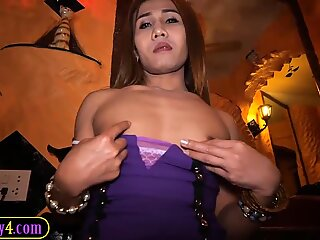 Sexy Asian tranny butt fucked with a toy and a cock