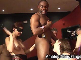 Hardcore amateur gangbang orgy