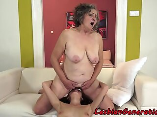 Grandma pussyeaten passionately by dyke