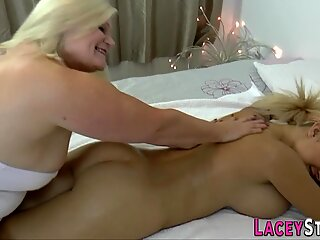 Gran massages and oils up busty lesbian