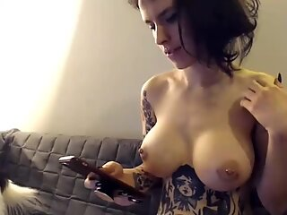 Tattooed big breast cute brunette, finger slams hairy pussy