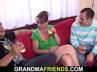 Anal threesome with busty mature