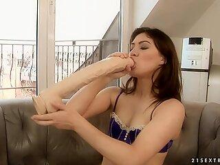 Tara Pink and Tiffany Doll sucking a very huge dildo