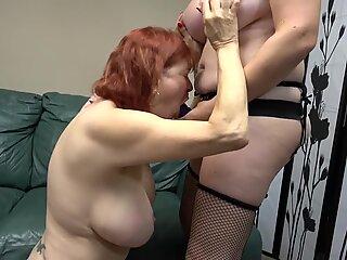 Busty mature fucks busty granny