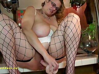 Huge tits hairy minge fucking kitchen slut