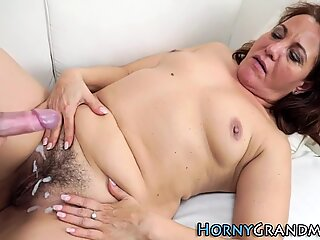 Grandma sucking on cock